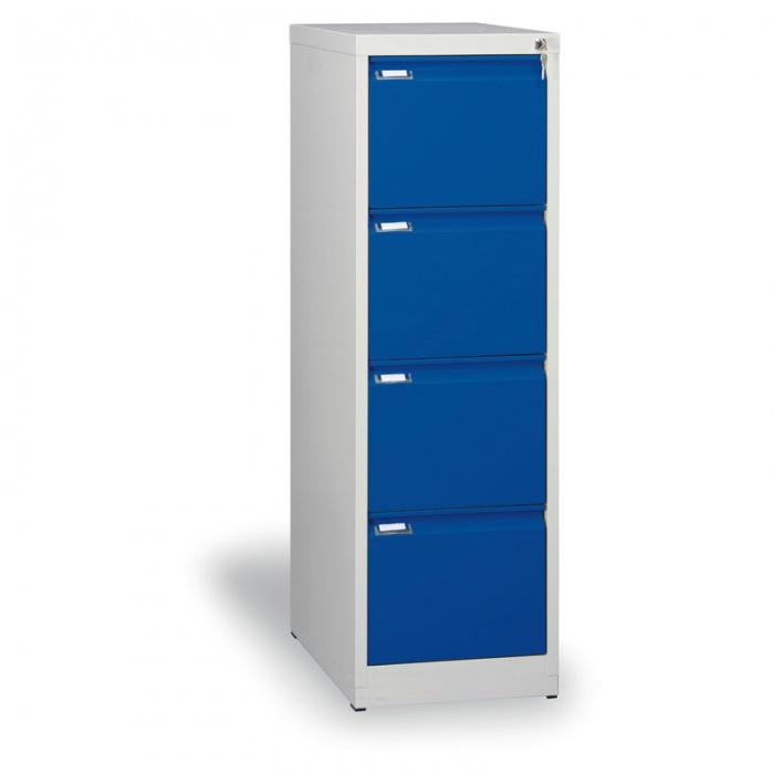 Kovová kartotéka A4, 4 zásuvky, modré