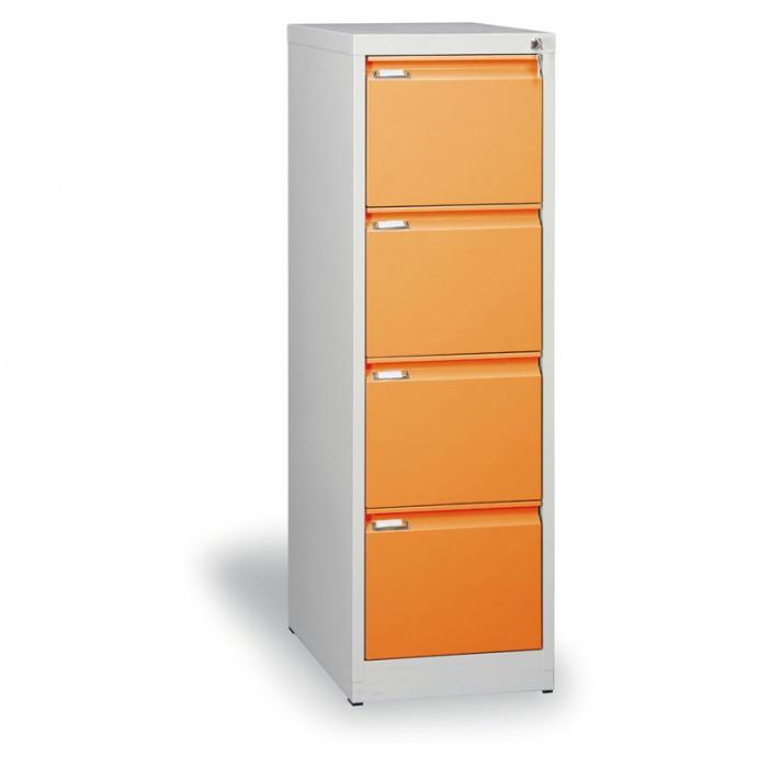 Kovová kartotéka A4, 4 zásuvky, oranžové
