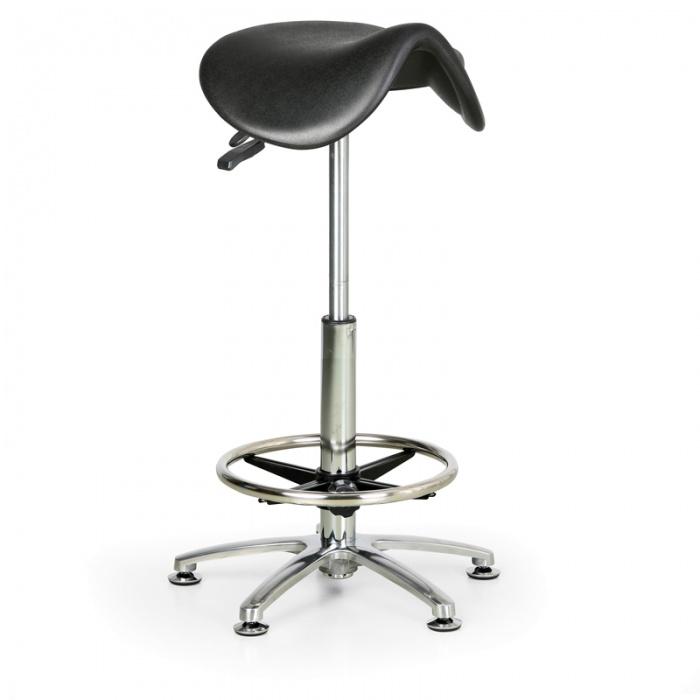 Pracovní stolička PUR, vysoká, sedák ve tvaru sedla