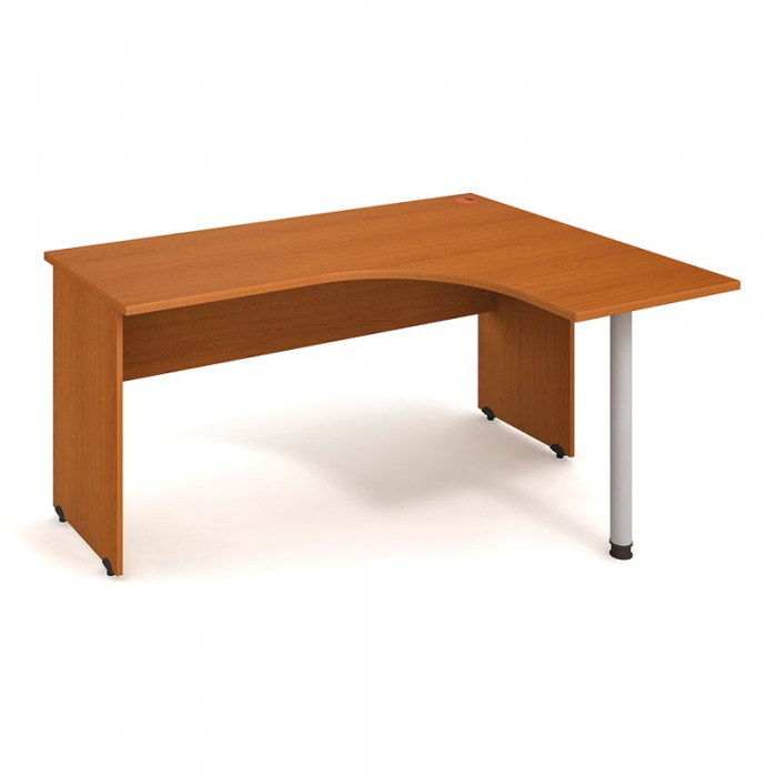 Rohový stůl, kovová noha, hloubka 600 mm, levý, třešeň