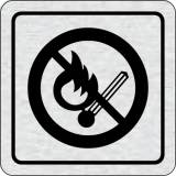 Cedulka na dveře - Zákaz vstupu s otevřeným plamenem