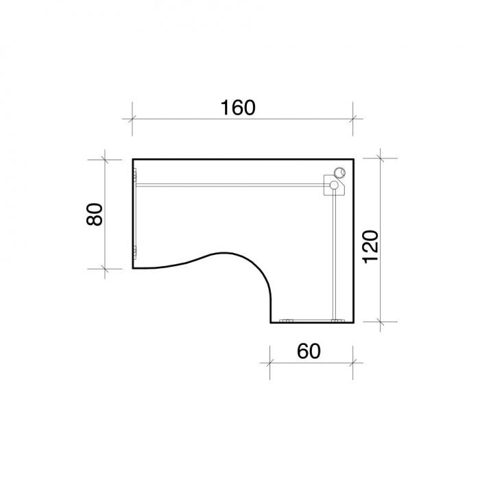 Rohový stůl, zaoblený, hloubka 600/800 mm, levý, třešeň